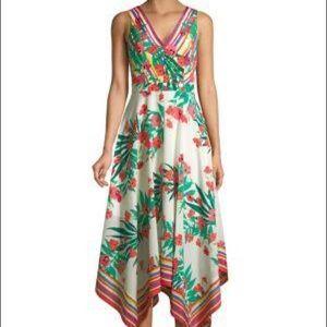 Vince Camuto Floral Handkerchief Hem Dress